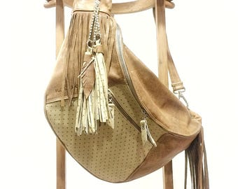 Camel, polka dot bag, bag skin, skin bag woman, bag woman, bag fringe, camel skin, printed bag.  Now with 25% discount.
