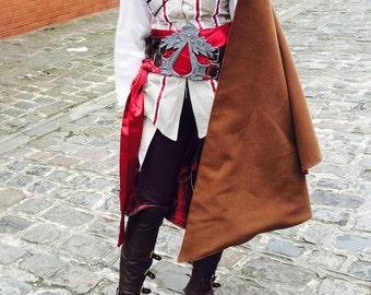 Cloak AC Leather Wool Cloak Costume Cosplay Replica Prop