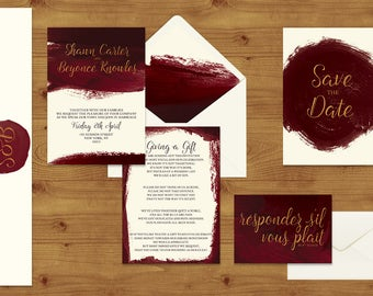 Marsala Wine Wedding Invitations Stationery Set - Printed or Digital Download - Burgundy Wedding - Wine Wedding - Wedding Printable