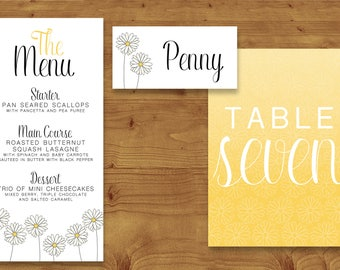 Lemon Yellow Daisy Place Cards, Table Numbers, Menu Cards - Yellow Wedding - Daisy Wedding - Table Name - Name Card - Wedding Stationery