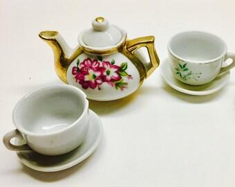 Vintage Toy China Tea Set For 2, Chinaware 6 Piece Miniature Tea Set