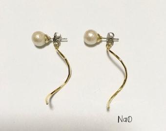 Pearl × wave earrings