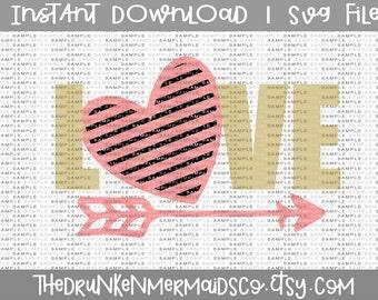 Love Svg - Love - Heart Svg - Heart - Heart and Arrow Svg - Valentines Day Svg - Love, Heart, Arrow, SVG Silhouette Cut File, Cricut Files