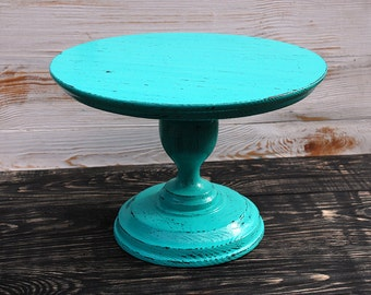 Turquoise cake stand, Wooden Cake Stand, Wedding Cake Stand, Shebby Cake Stand, Cake Pedestal