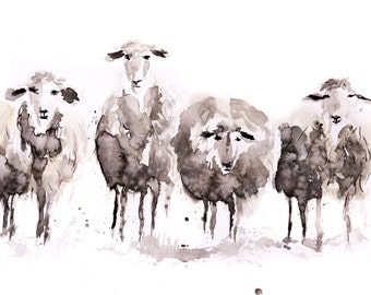 More Sheep in a Row - Signed print of my original Watercolour Painting