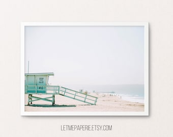 Beach Print, Beach Photography, Lifeguard Tower, Beach wall art, Ocean print, Ocean photo, Coastal prints, Beach poster, Summer wall print