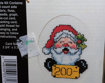 Stitch N Hang  Santa Counted Cross Stitch Kit Gift Tag, Greeting Card or Ornament