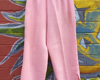 Vintage handmade gingham plaid pink capri / midi pants - HIGH WAISTED