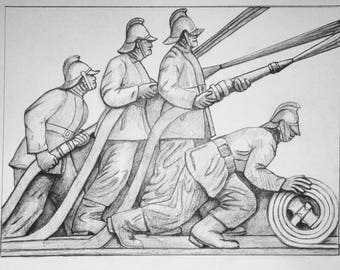 Firefighters, Unframed, A3 Graphite Pencil Drawing