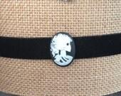 Lolita Skull Velvet Cameo Choker Necklace velvet choker velvet necklace cameo necklace inch Necklace with Extender Chain