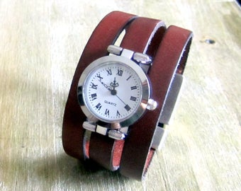 """Watch Bracelet Brown """"Cognac"""", Silver Dial, clasp plated silver loving 30 MM"""