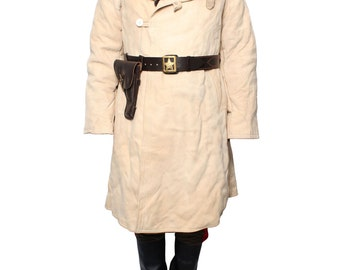 Soviet-Russian Original winter beige Sheepskin Coat Tulup Bekesha Fur Suede Leather