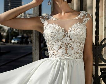 A Line Silk/Lace Wedding Dress