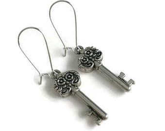 Silver Floral Key  Earrings -  Silver Key Jewelry - Simple Everyday Jewelry - Silver Skeleton Key  Earrings - silver floral earrings