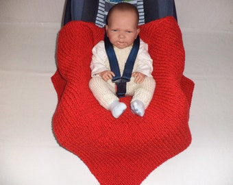 knitted baby blankets cot blanket Merino Wool Red