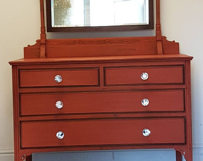 Professionally Hand Painted Vintage Dresser with Mirror