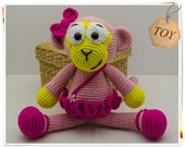 Crochet Monkey Toy, Amigurumi Monkey, Crochet Monkey Ballerina, Crochet Ballerina, Pink Monkey, Soft Monkey Toy, Stuffed Monkey, Monkey Doll
