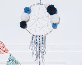 Dream catcher with blue tassels