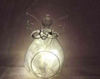 Feather filled light up angel