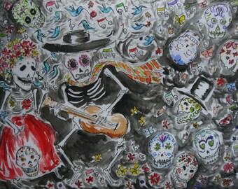 Dias los muertos y catrina y calaveras, viva Mexico, original watercolor print