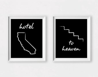 Music Art, Led Zeppelin Print, Music Print, Hotel California, Stairway to Heaven Art, Led Zeppelin Art, Digital Download, Digital Print