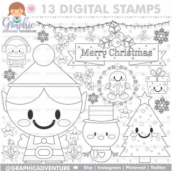 75OFF Christmas Stamp COMMERCIAL USE Digi Stamp Digital