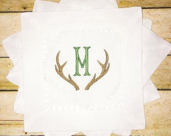 Antler Monogram Linen Coasters S/4