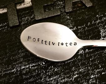PositiviTEA hand stamped metal teaspoon the perfect gift for tea lover. Positive gifts gift for mom motivational gift gifts under 20