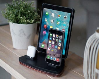 NytStnd AIRPODS TRIO 2 Midnight - FREE Shipping Dock Charging Station Wireless for iPhone AirPods iPad Birthday Gift Present