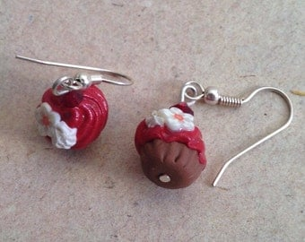 Earrings Cupcakes red with flower, miniature food