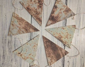 Rusty Teal Wood Bunting Flags