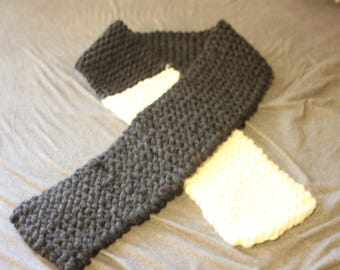 Charcoal Gray and White Knitted Scarf