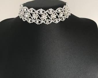 Silver diamante brial choker