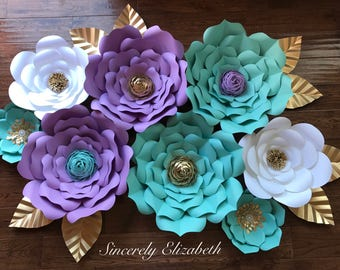 8 Piece Little Mermaid Paper Flower Set, Little Mermaid Inspired, large paper flowers, Sweet 16 Decor