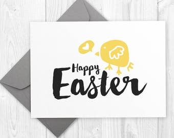 Printable Happy Easter card  / Modern Happy Easter printable card with yellow chick / Minimalist Easter Baby Chick card - instant download