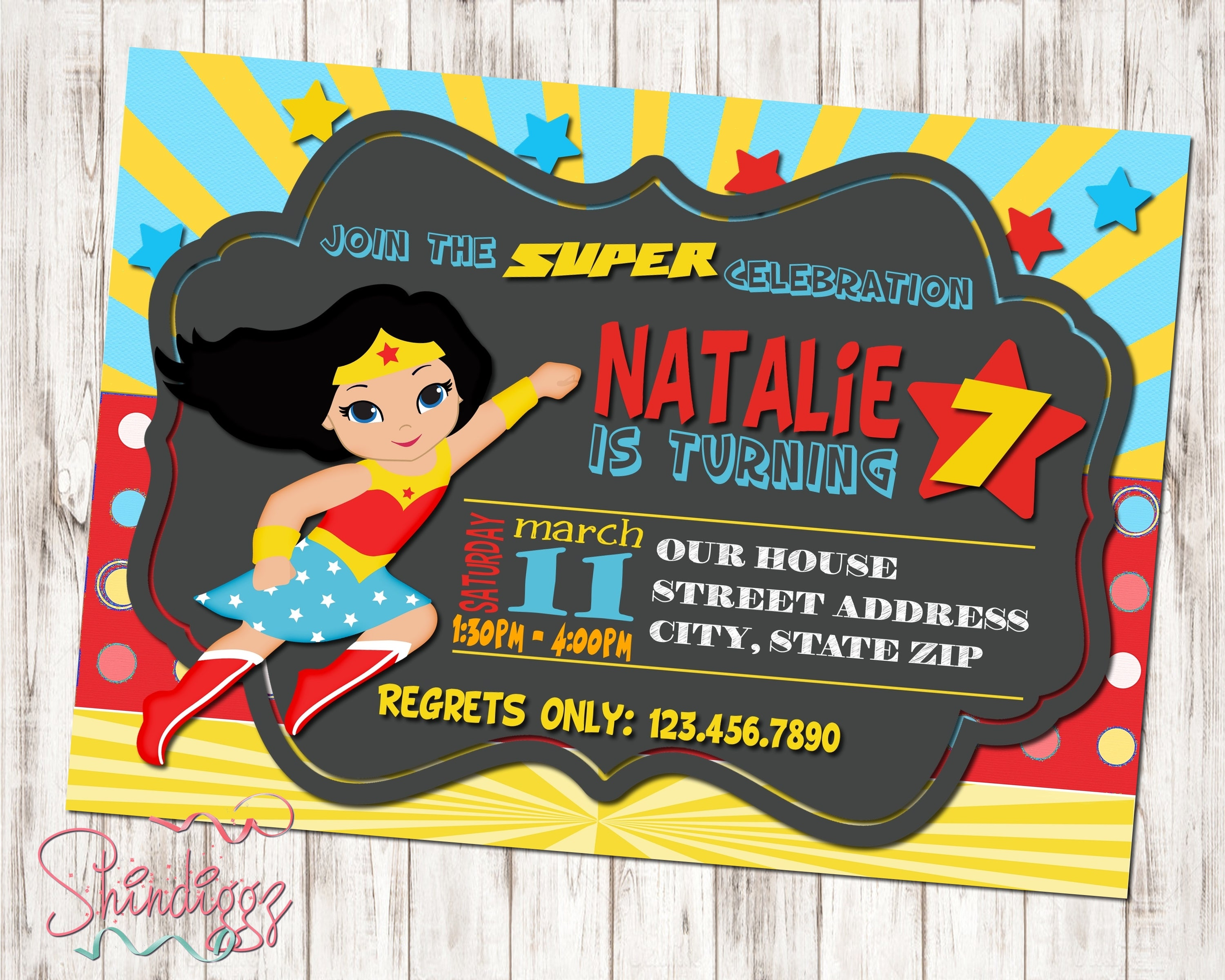 Wonder Woman Invitations Wonder Woman Birthday Invitations