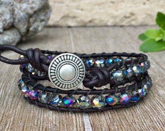 Double Wrap Leather Bracelet with Multi Color Beads