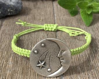 Handmade Macrame Bracelet Lime Green Crescent Moon
