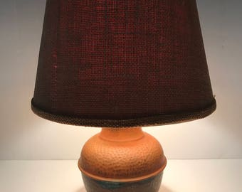 Vintage Copper Lamp, Hand hammered copper, Burlap shade,