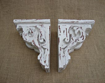 Shabby Chic Farmhouse Decor Victorian Wooden Shelf  Brackets Rustic Set of 2