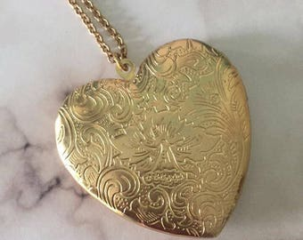 Gold heart locket long necklace