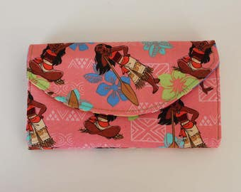 Disney Moana Wallet Quilted Accordion Wallet with card slots and zipper pockets