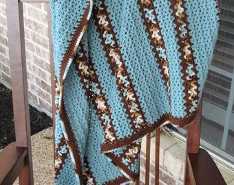 Crocheted Throw in Blues and Browns