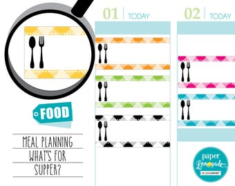 Supper stickers gingham meal stickers Eating stickers Meal planning Food tracker Fork and spoon removable sticker for kikki k filofaxS092-ME