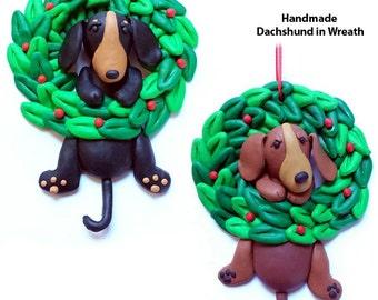 Dachshund in Wreath Handmade Ornament