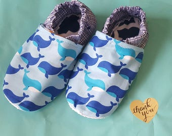 Whale moccasin booties