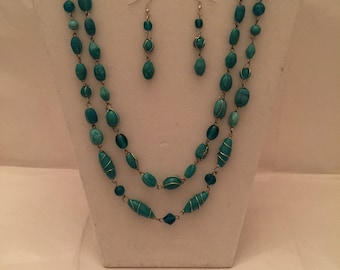 Turquoise Wire Wrapped Jewelry Set