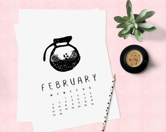 Desk calendar 2017, Art calendar 2017, Printable calender, Funny calendar, Cute calendar, Downloadable calendar 2017, Coffee calendar pages