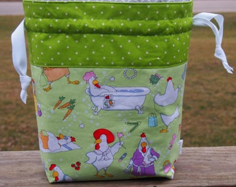 Leisure Chicken Medium Drawstring Knitting Project Bag / Pockets