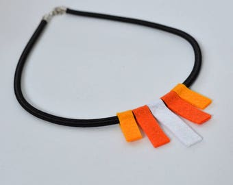 Handmade Felt Choker Necklace White Orange